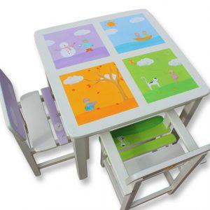 שולחן וכסאות מעוצבים לילדים - ארבע עונות השנה