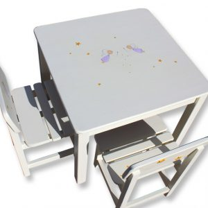 שולחן וכסאות לילדים - פיות סגולות עם כוכבים