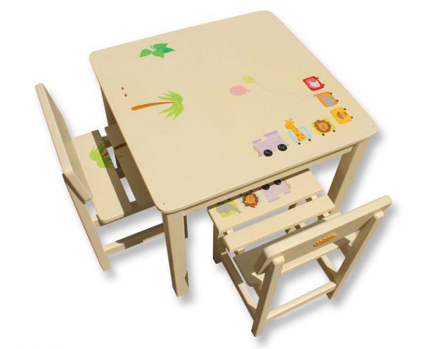 שולחן וכסאות מעוצבים לילדים - רכבת החיות