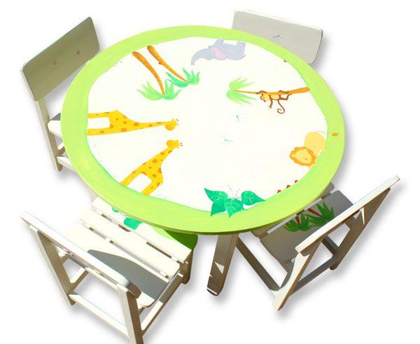 שולחן וכסאות לילדים - ג'ירף, פיל, קוף ואריה