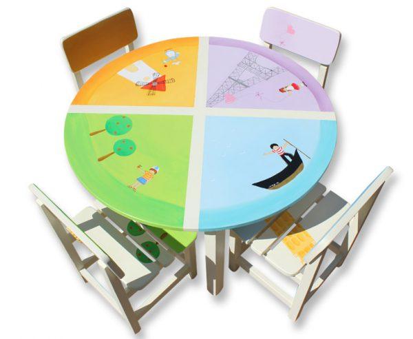 שולחן וכסאות מעוצבים לילדים - ילדי העולם הגדול