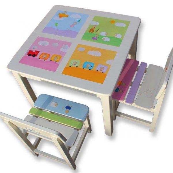 שולחן וכסאות לחדר ילדים - רכבת ורועי הצאן