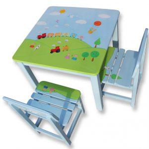שולחן וכסאות לילדים - טרקטור,רכבת ועצי הדר