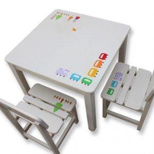 שולחן וכסאות לחדר ילדים - רכבת קו נקי
