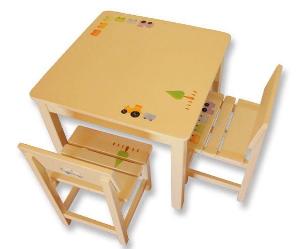 שולחן וכסאות לילדים - טרקטור ורכבת בקו נקי
