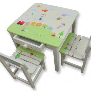 שולחן וכסאות לילדים - רכבת וכלי תעופה