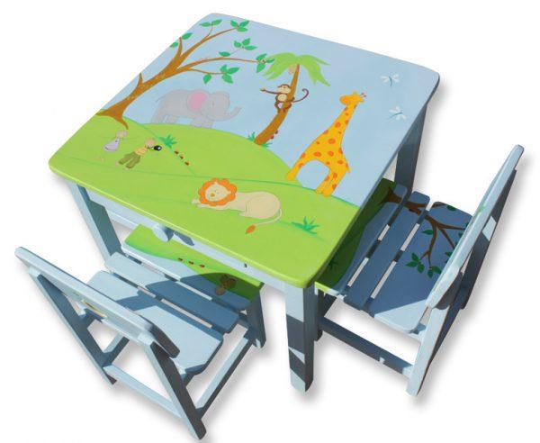 שולחן וכסאות לילדים - גירפה,פיל, אריה וקוף