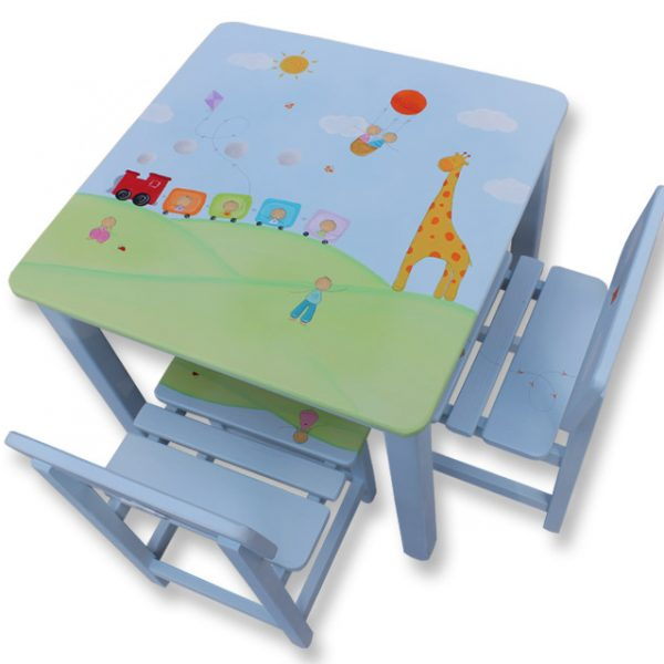 שולחן וכסאות לילדים - ג'ירפה, רכבת וכדור פורח
