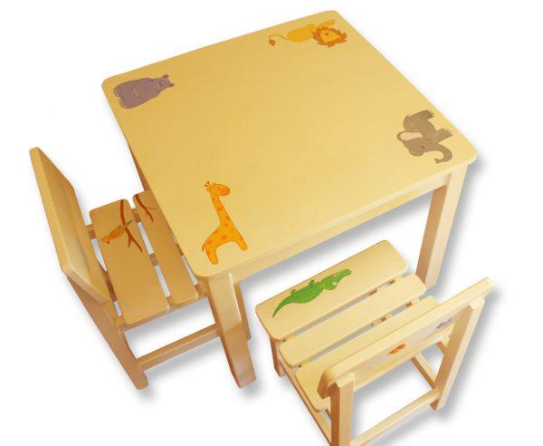 שולחן וכסאות לילדים - חיות-קו נקי