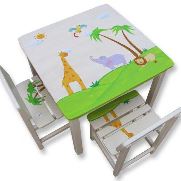 שולחן וכסאות לילדים - חיות בספארי
