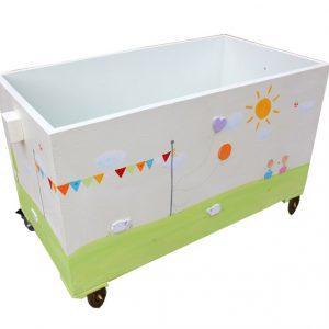 ארגז אחסון לחדר ילדים בעיצוב דגלונים צבעוניים
