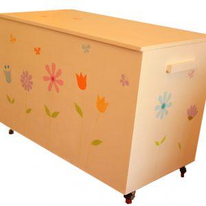 ארגז לחדר ילדות – פרחים ופרפרים