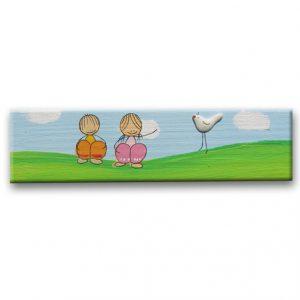 ידית לארון ילדים - ילדים עם ציפור
