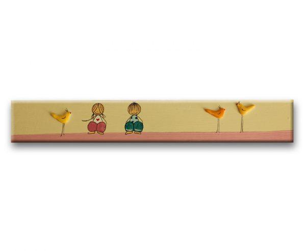 ידית מלבנית מעץ - ילדים עם ציפורים