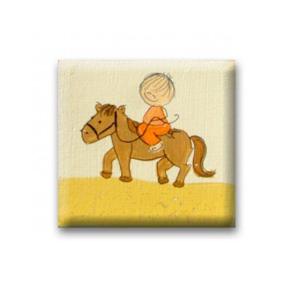 ידית מעוצבת מעץ – ילד מתוק על הסוס