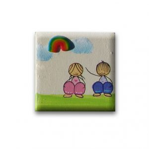 ידית לשידה - ילדה וילד מתחת קשת צבעונית
