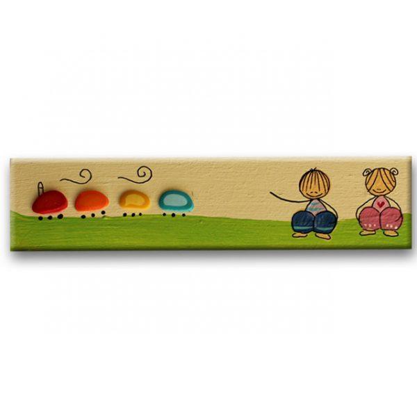 ידית מלבנית מעץ - ילדים ורכבת