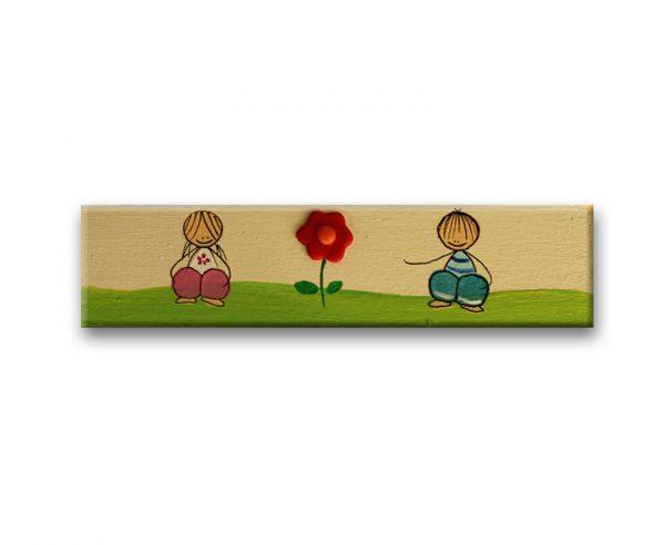 ידית מלבנית מעץ בעיצוב ילדים ופרח
