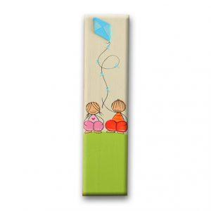 ידית מלבנית מעץ בעיצוב ילדים עם עפיפון