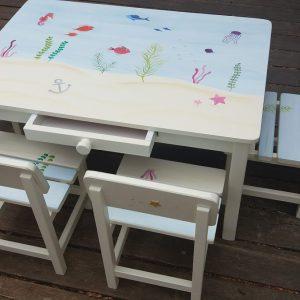 שולחן וכסאות מעוצבים לילדים - עולם המים הקסום 5