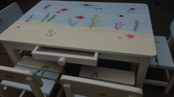שולחן וכסאות מעוצבים לילדים - עולם המים הקסום 3