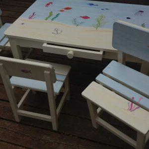 שולחן וכסאות מעוצבים לילדים - עולם המים הקסום 7