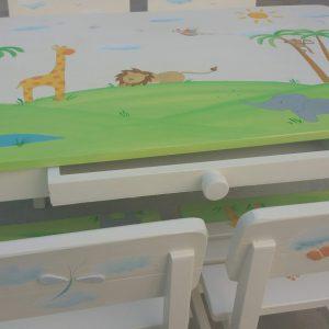 שולחן וכסאות מעוצבים לילדים - חיות ספארי מתוקות 5