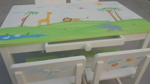 שולחן וכסאות מעוצבים לילדים - חיות ספארי מתוקות 3