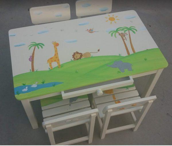 שולחן וכסאות מעוצבים לילדים - חיות ספארי מתוקות 1