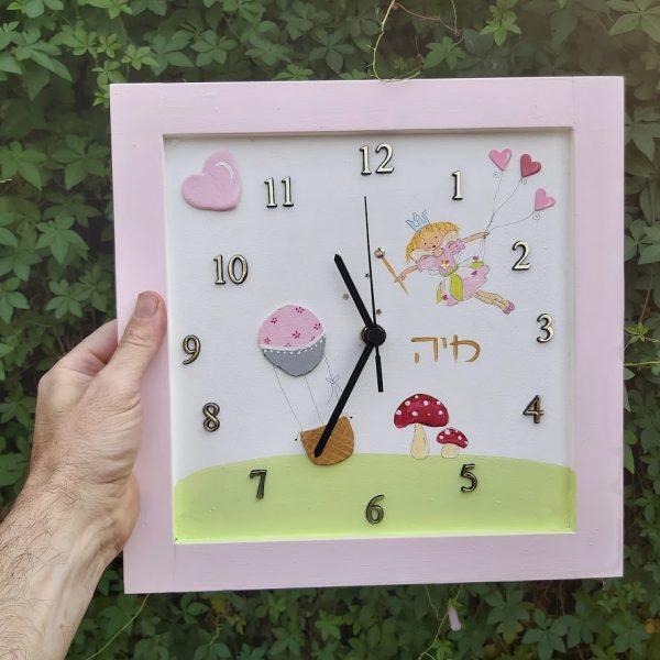 שעון לחדר ילדות - הפיה לילי ולבבות ורודים 1