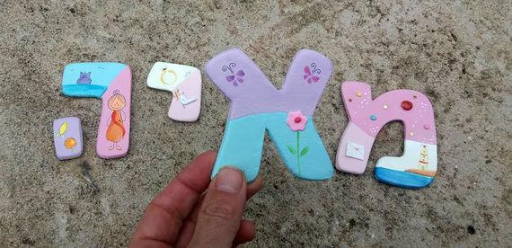 אותיות מעוצבות לחדר ילדות- דגם: ורוד/לבן/תכלת 3