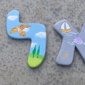 אותיות בסגנון בעלי כנף וחיות המים לחדר ילדים 4