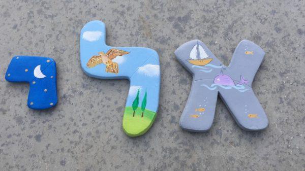 אותיות בסגנון בעלי כנף וחיות המים לחדר ילדים 2