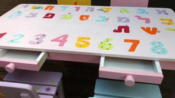 שולחן וכסאות לפעוטות- דגם: אותיות ומספרים 2