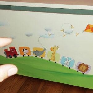 ספסל לחדר ילדים. דגם: רכבת החיות 5