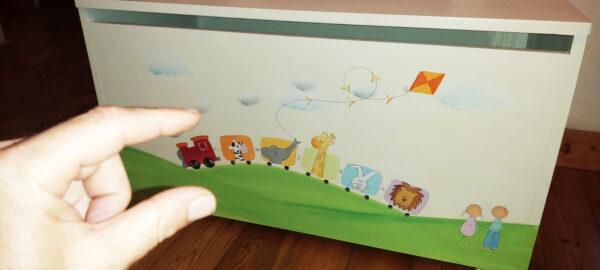 ספסל לחדר ילדים. דגם: רכבת החיות 3