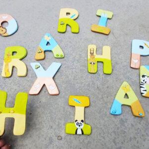 אותיות באנגלית לדלת חדר הילדים. דגם: חיות מתוקות 6