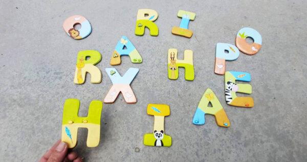 אותיות באנגלית לדלת חדר הילדים. דגם: חיות מתוקות 3